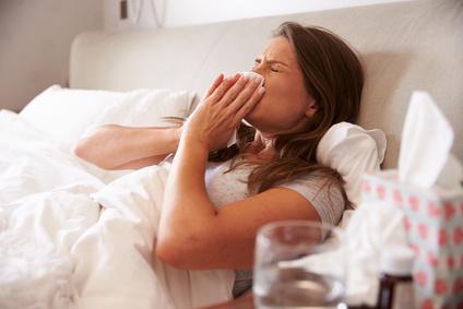 Mit Grippe im Bett